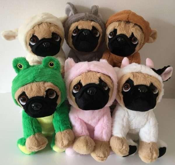 Soft plush pugs
